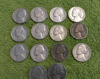 1940's, 1950's, 1960's Jefferson Nickels