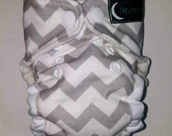 Chevron-Grey-White-Newborn-All in One-AIO-Cloth Diaper-Diapers-Gender Neutral-Baby