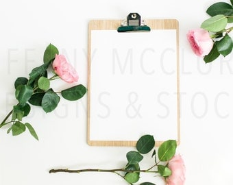 Styled Clipboard with Flowers   Styled Stock Photography