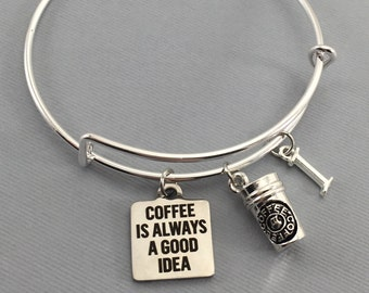 Coffee Lover Gift - Coffee - Coffee Addict - Coffee Gifts - Charm Bracelet - Gift For Her - Mothers Day Gift - Gift For Her - Coffee Jewelry
