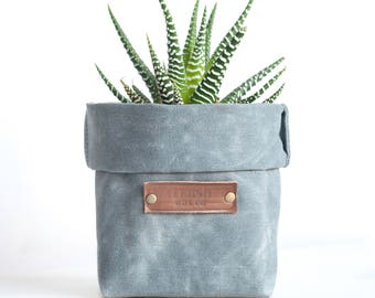waxed canvas storage planter bin