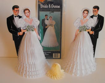 Two Paper Art Tissue Centerpieces Bride and Groom Fold-Out Dress