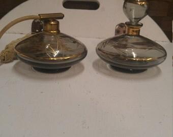 Vintage smoky gray perfume bottles (Price is per item as in each)