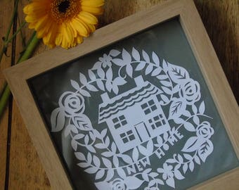 new home paper cut gift in light brown frame