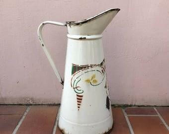 Vintage French Enamel pitcher jug water enameled beige OLD 30031727
