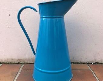 Vintage French Enamel pitcher jug blue great shape water enameled