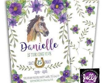 Horse Flower Birthday Invitation, Horse Invitation, Horse Party Invite, Giddy Up Horse Invitation