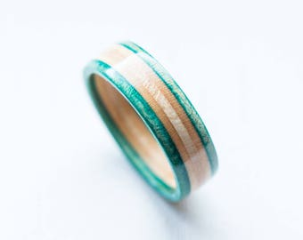 Skateboard Ring -  Wooden Ring - Wood bands - Turquoise - Wooden Jewelry - Waterproof Ring - Skate Ring - Wedding Ring