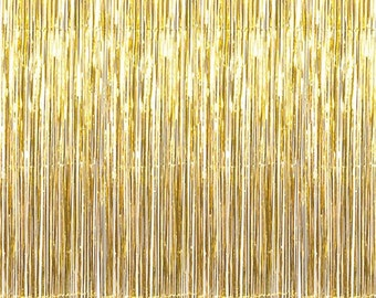 Gold Foil Curtain - Shimmer Backdrop | New Years  |  Party Decor