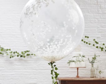Large White Confetti Balloon x 3 | Wedding Balloons | Giant Balloons