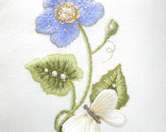 Forget-me-not- crewel embroidery and stumpwork