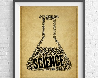 Science Word Cloud Art, Word Art, Word Collage, Word Print, Science Gift, Science Art, Science Teacher Gift, Science Poster, Science Geek