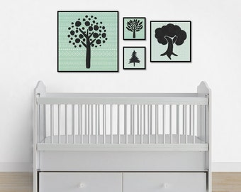 Tree Print Set, Instant Digital Download, Nursery Art, Nursery Decor, Gender Neutral Nursery, Nursery Wall Art, Green Nursery, Tree Painting