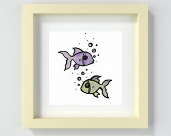Fish Nursery Print, Fish Playroom Wall Art, Fish Painting Print, Baby Boy, Baby Girl, Child's Room Print, Fish Wall Art, Playroom Decor