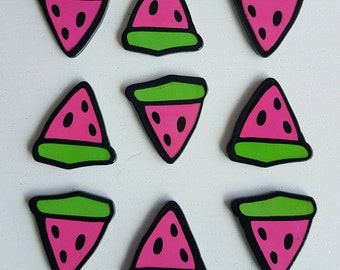 5 x resin watermelon slices cabochon flatbacks