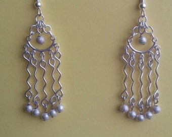 """Silver """"crinkle"""" earrings with brushed silver beads,FREE SHIPPING,Handmade jewelry,Dangles,Bling,Unique original design"""