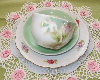 Mismatched Tea  Set 4 Piece Set Shabby Chic Tea Party Cup and Saucer