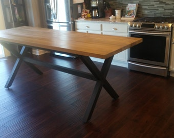 X Base Farmhouse Table Poplar Legs Distressed Dining