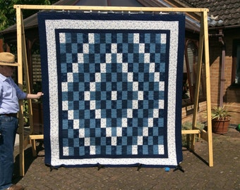 Queen Size Trip Around The World Quilt.Blue Quilt.Home Decor.Handmade Quilt.Large Quilt.