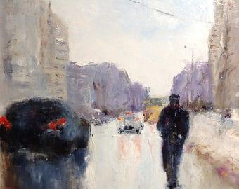 Rain Painting Original Sityscape Painting Impressionism Rain Oil Painting Cityscape Painting Palette Knife Painting Wall Art Canvas Modern