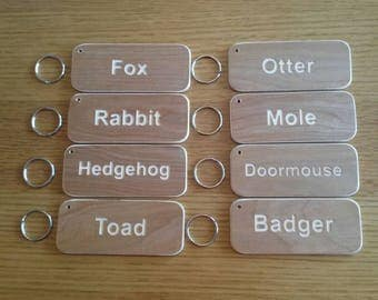 hotel room key caravan business door extra LARGE WOODEN KEYRING personalised motel b&b engraved ring for attachment to your keys included