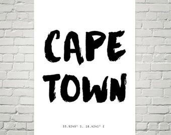 Cape Town, Poster, Cape Town Coordinates, typography poster, prints, framed print, large wall art, artsy, unique gift