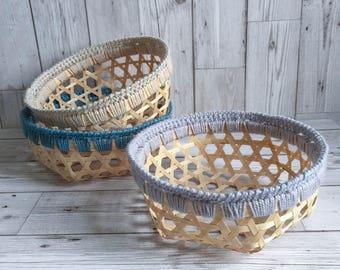 CROCHET BAMBOO BASKET - Handmade Crochet Trim Storage Desk Tidy Basket Tray Beige