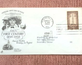 Petroleum Industry First Day Issue US Postage Stamp FDC 1959 Titusville PA Drake Well Centennial