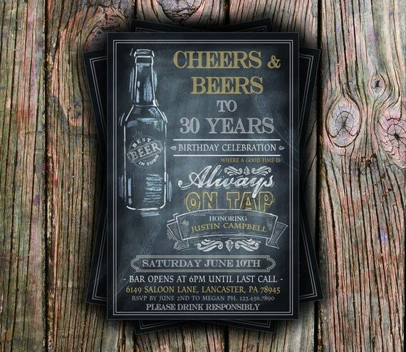 Cheers and Beers Birthday Invite - Any Age -