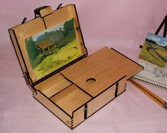 Artist's Pochade Box with a palette. Painter's Portable Easel. Big