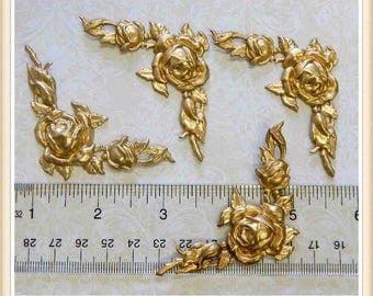 4 pieces raw brass corner, rose, fower, stampings, embellishments E185