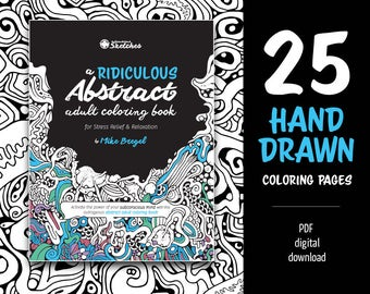 Adult Coloring Book | Abstract Coloring | Printable PDF Coloring Book, digital download, print at home | 25 adult coloring page patterns