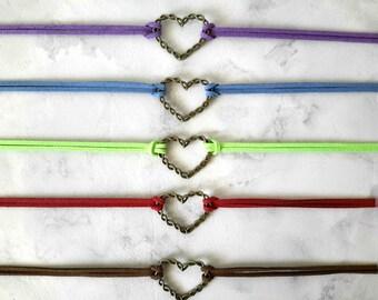 Heart Choker, Choker Necklace, Heart Necklace, Choker With Charm, Leather Choker, Leather Necklace, Choker, Women Gift, Heart Charm Necklace