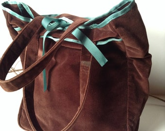 GAP Large Brown Fabric Tote/Bookbag/Shopper with Turquoise Trim