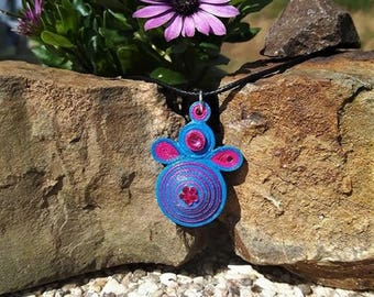 Blue and pink necklace made of quilling.