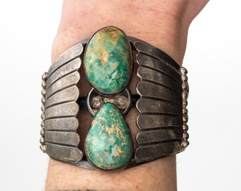 Rare Vintage Sterling Silver & Green Turquoise Cuff Bracelet, VJ #853