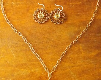 One of a kind Steampunk necklace and earring set