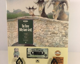 SALE Vintage Cassette Tape / Soft Book : The Three Billy Goats Gruff Read by Holly Hunter Golden Books RABBIT EARS New Sealed 1993 90's