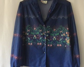 Royal blue vintage floral long skeeved blouse with collar