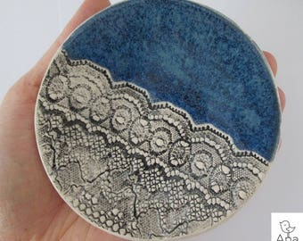 lace ceramic plate, plate for jewelry, platter for wedding rings, ceramic handmade minimalistic, blue small plate, tea bag plate, ring dish