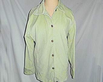 Bill Blass Jeans Women Cotton Spandex Jacket Size M Vintage Stretch Pale Green Mashine Wash