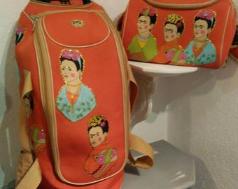 SUMMER SALE! Frida Kahlo rolling luggage and small carry on - upcycled orange canvas frida rolling bag -great flight or weekender bags