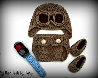 Crochet Baby Rey Inspired Hat, Diaper Cover, Booties, and Light Saber