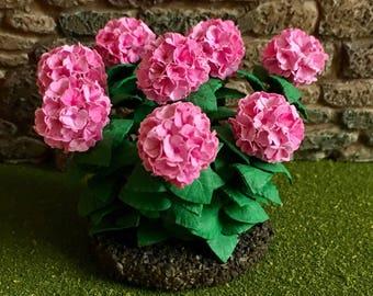 Dollhouse Miniature PinkHydrangea Bush  Artist Made