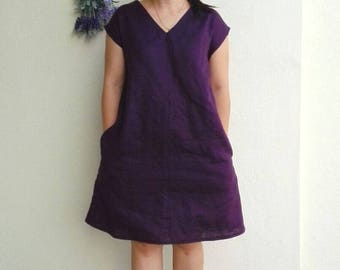 Linen Dress / V-Neck Linen Dress, Loose Fit Shift Dress in Eggplant
