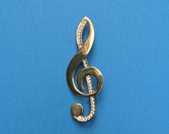 Treble Clef Pin with Rhinestones; Very Good Condition