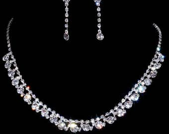 Elegant Jewelry Silver Plated Wedding Bridal Woman Party Rhinestone Necklace Earrings Set