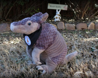 CUTE!  Plush Armadillo with Custom Wild Texas Buns Bandana - Stuffed Armadillo Toy - Very Unique - Mister's Garden