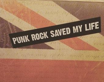 Punk Rock Saved My Life Vinyl Sticker