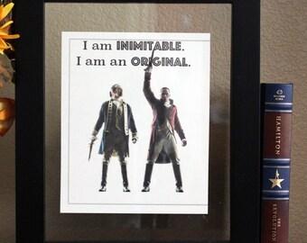 Hamilton the musical • I am an original • Alexander Hamilton • Wall art • Typography • Hamilton Quote • Aaron Burr • Cubicle Decor • Gift